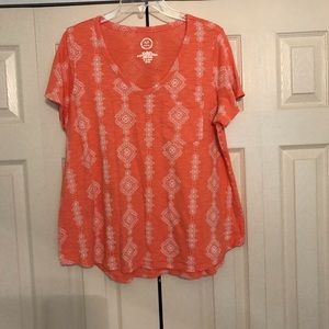 Maurice's Tangerine and Cream Top